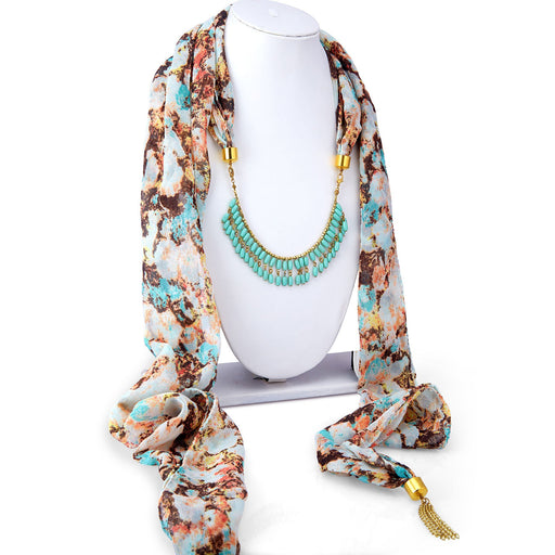 Sukkhi Ravishing Chiffon Detachable Scarf Necklace With Chain For Women