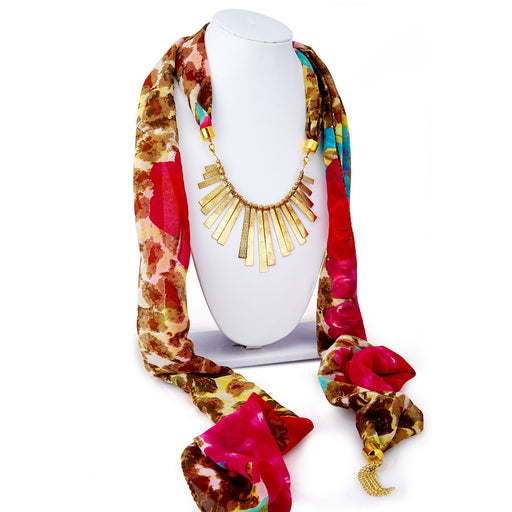 Sukkhi Beguiling Chiffon Detachable Scarf Necklace With Chain For Women