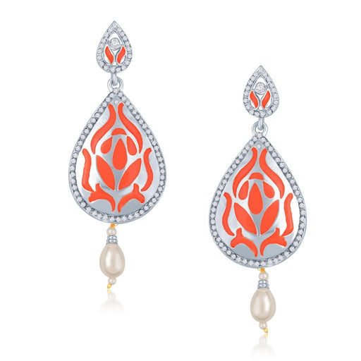 Sukkhi Wavy Gold Plated Australian Diamond Stone Studded Neon Coloured Earring