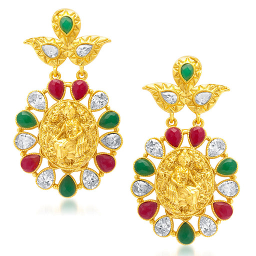 Sukkhi Glamorous Gold Plated AD Temple Jewellery Earring for Women
