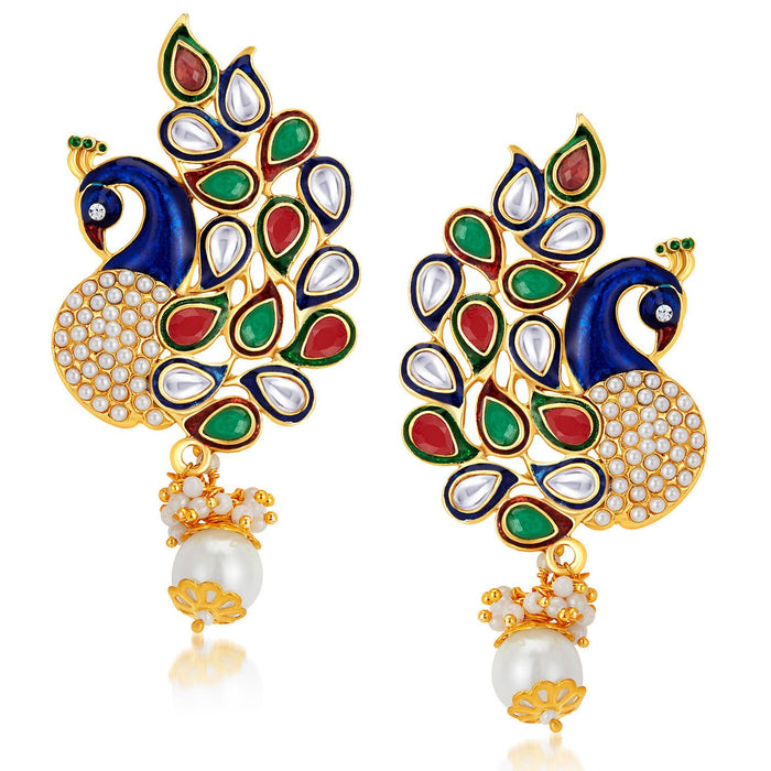 Sukkhi Charming Peacock Gold Plated Australian Diamond Earrings