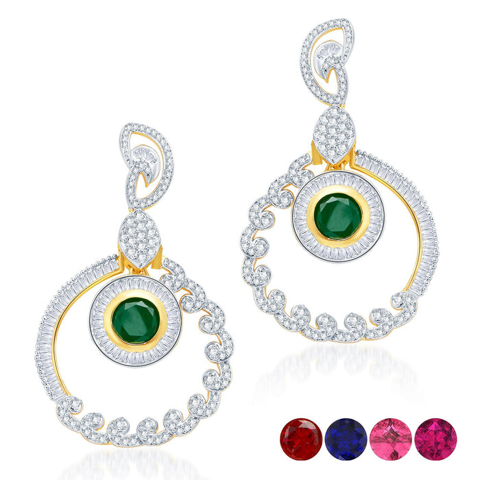 Pissara Incredible Gold and Rhodium Plated Cubic Zirconia Earrings