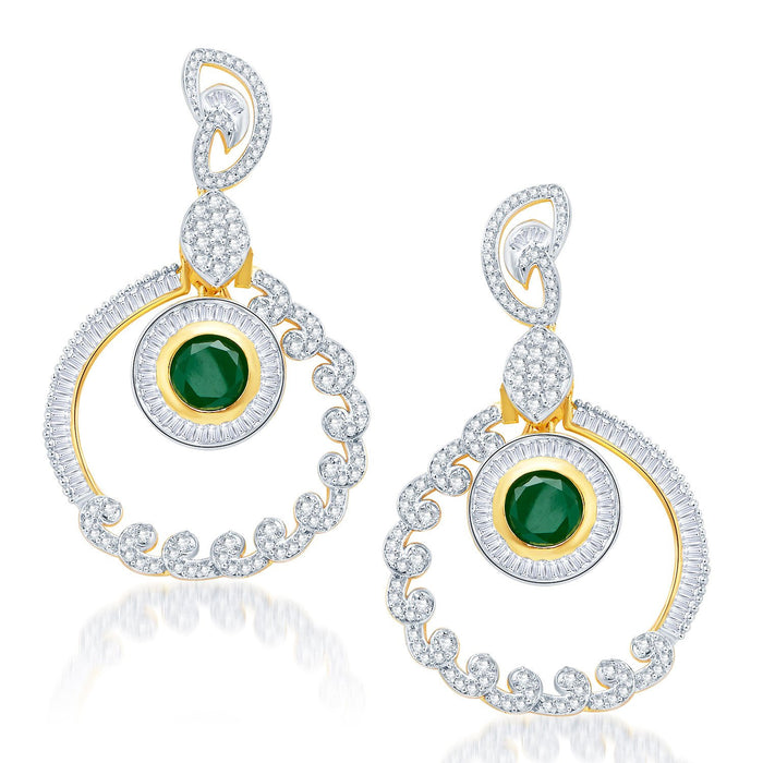 Pissara Incredible Gold and Rhodium Plated Cubic Zirconia Earrings-1