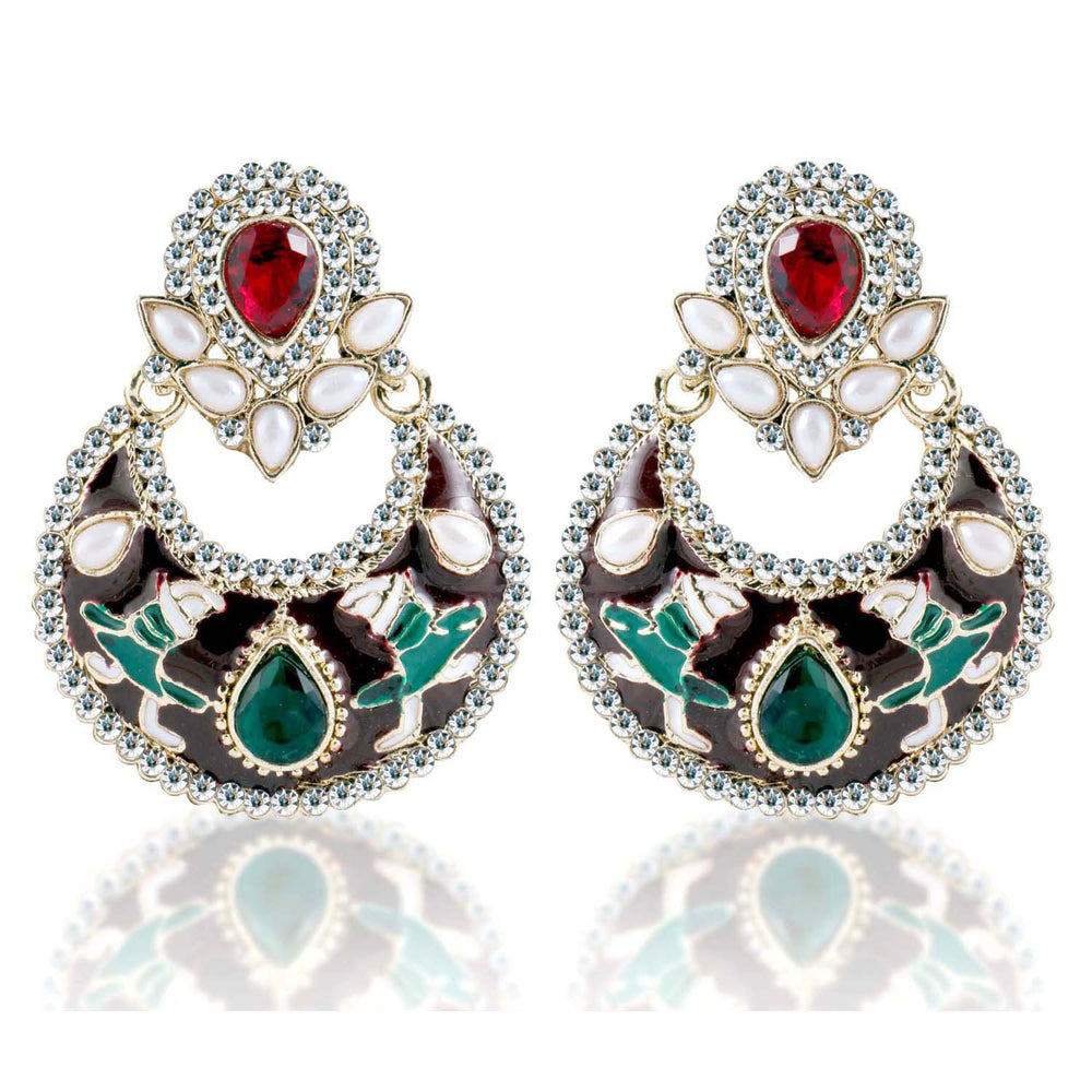 Sukkhi Delightful Gold Plated AD Chandbali Earring For Women