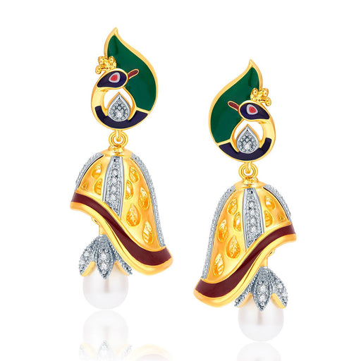 Pissara Feminine Peacock Gold And Rhodium Plated CZ Jhumki For Women