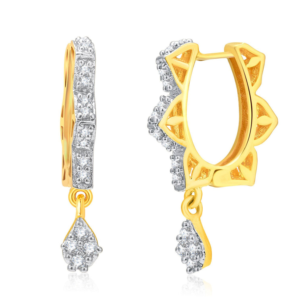 Pissara Dazzling Gold And Rhodium Plated CZ Hoops For Women