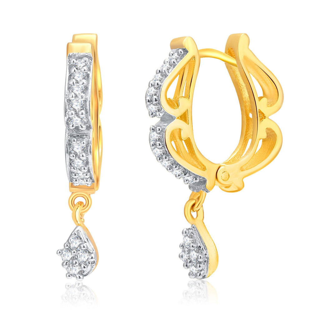 Pissara Glamorous Gold And Rhodium Plated CZ Hoops For Women
