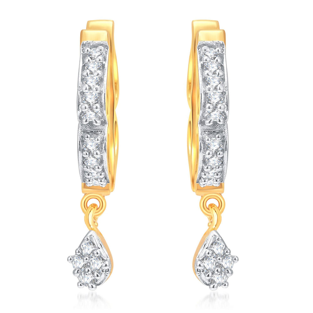 Pissara Glamorous Gold And Rhodium Plated CZ Hoops For Women-1