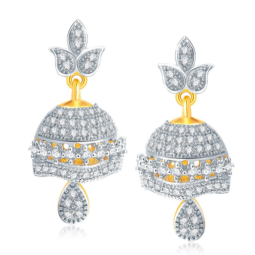 Pissara Modish Gold And Rhodium Plated CZ Jhumki For Women