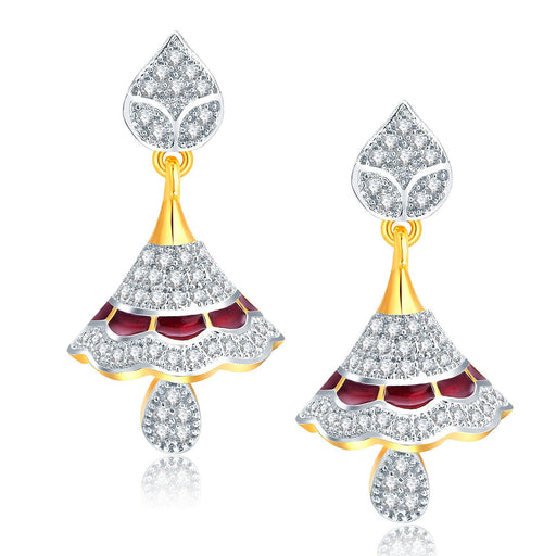 Pissara Gorgeous Gold And Rhodium Plated CZ Jhumki For Women