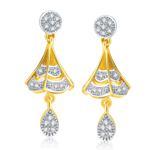 Pissara Poignant Gold And Rhodium Plated CZ Jhumki For Women