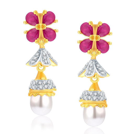 Pissara Enchanting Gold And Rhodium Plated Ruby CZ Jhumki For Women