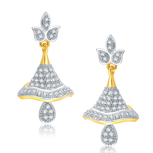 Pissara Lively Gold And Rhodium Plated CZ Jhumki For Women