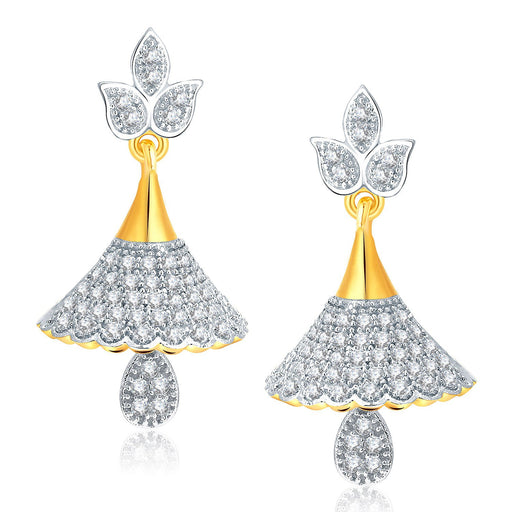Pissara Shimmering Gold And Rhodium Plated CZ Jhumki For Women