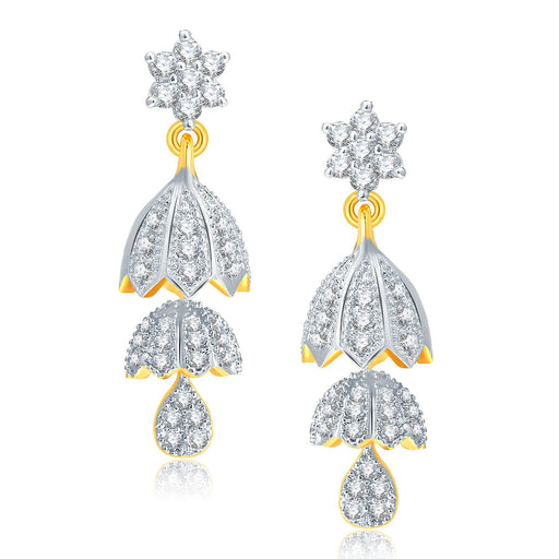 Pissara Enticing Gold And Rhodium Plated CZ Jhumki For Women