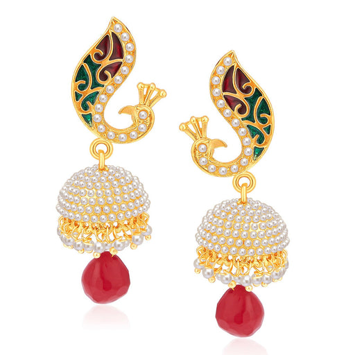 Sukkhi Dazzling Peacock Gold Plated Pearl Jhumki For Women