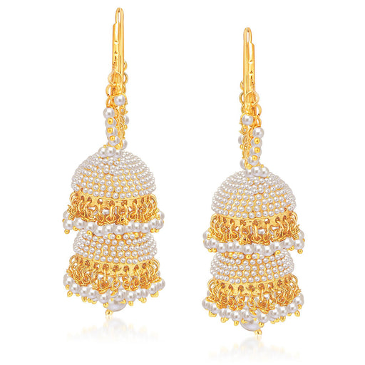 Sukkhi Blossomy Gold Plated Pearl Jhumki For Women