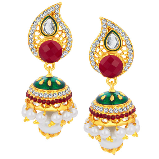 Sukkhi Creative Paisley Jhumki Gold Plated AD Earring For Women