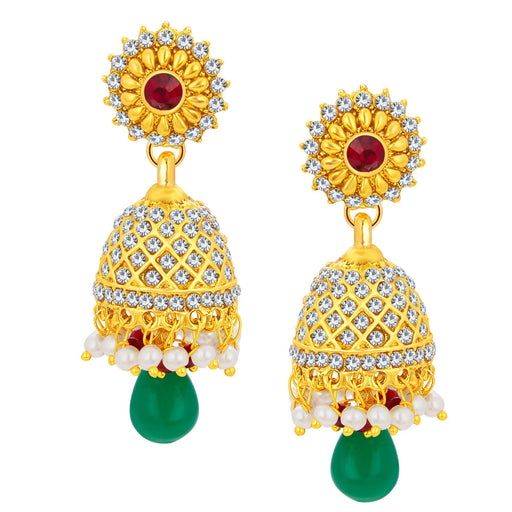 Sukkhi Brilliant Jhumki Gold Plated AD Earring For Women