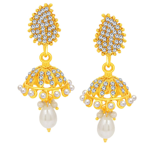 Sukkhi Delightful Jhumki Gold Plated AD Earring For Women