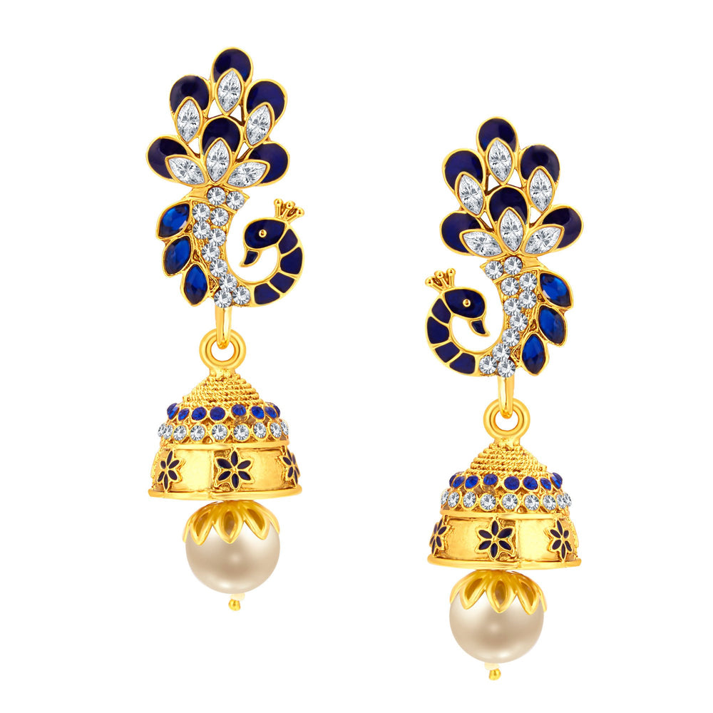 Sukkhi Bewitching Peacock Jhumki Gold Plated AD Earring For Women