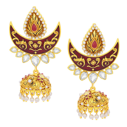 Sukkhi Enchanting Chandbali Jhumki Gold Plated AD Earring For Women