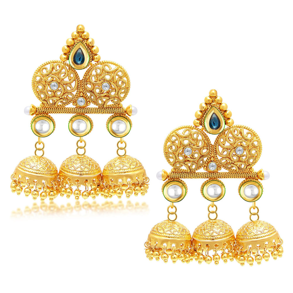 Sukkhi Exquisite Jhumki Gold Plated Set of 2 Pair Earring Combo For Women-1