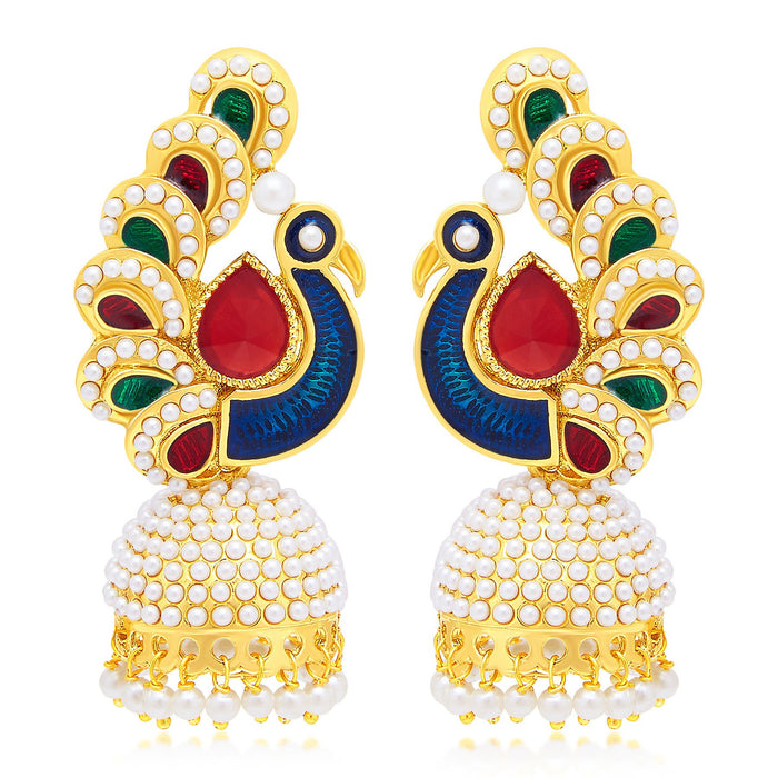 Sukkhi Gleaming Peacock Jhumki Gold Plated Set of 3 Pair Earring Combo For Women-3