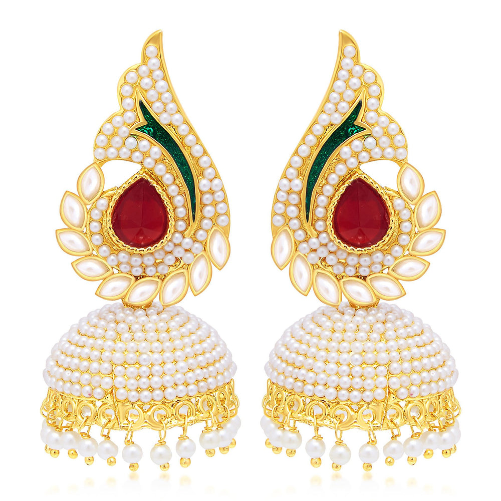 Sukkhi Finely Peacock Jhumki Gold Plated Set of 2 Pair Earring Combo For Women-2
