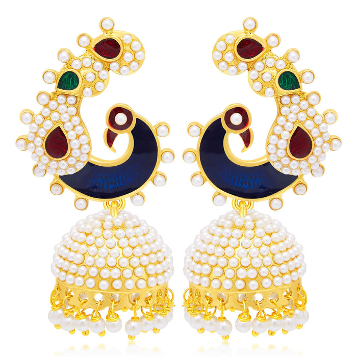 Sukkhi Exquisite Jhumki Gold Plated Set of 2 Pair Earring Combo For Women-2