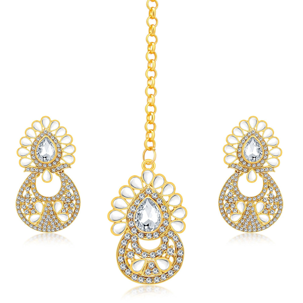 Sukkhi Dazzling Gold Plated AD Earring With Mangtikka Set For Women
