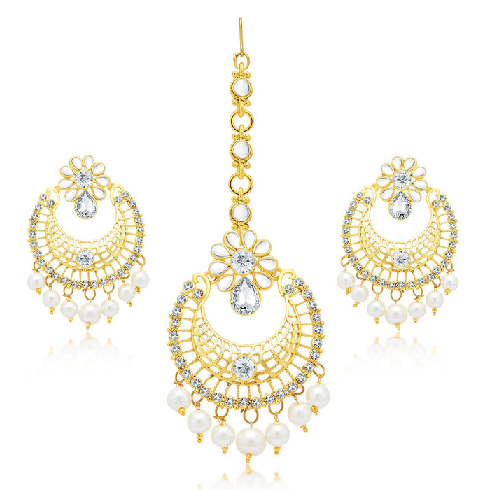 Sukkhi Angelic Gold Plated AD Earring With Mangtikka Set For Women