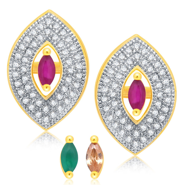 Pissara Marquise Gold Plated 2 set of Changeable CZ Stone Earring For Women