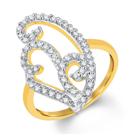 Sukkhi Charming Gold and Rhodium Plated Cubic Zirconia Ring