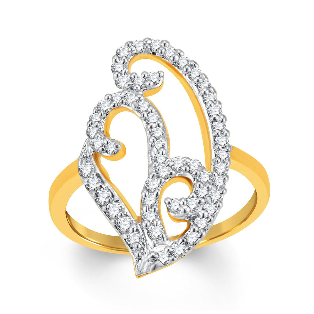 Sukkhi Charming Gold and Rhodium Plated Cubic Zirconia Ring-1