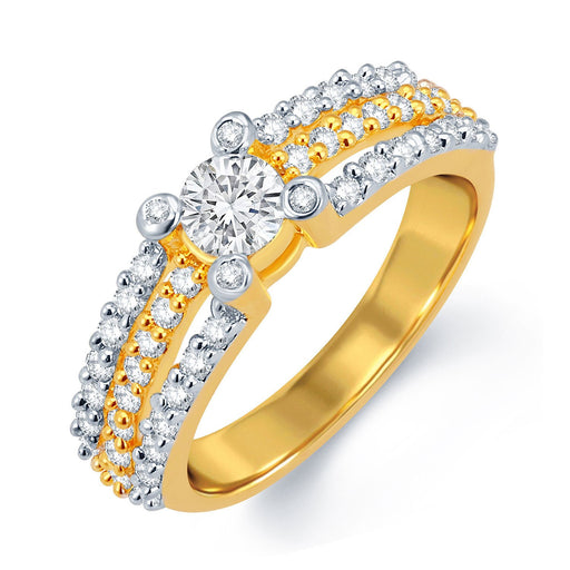 Sukkhi Dazzling Gold and Rhodium Plated CZ Solitaire Ring