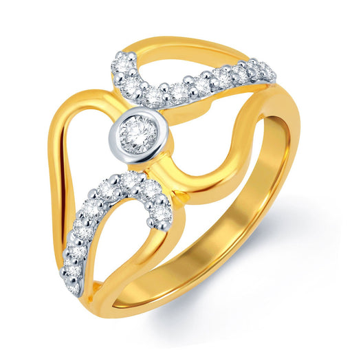 Sukkhi Blossomy Gold and Rhodium Plated CZ Ring
