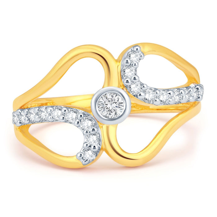 Sukkhi Blossomy Gold and Rhodium Plated CZ Ring-1