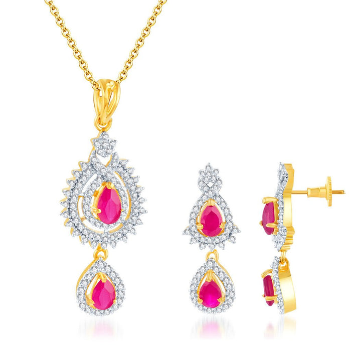 Pissara Artistically Crafted Gold and Rhodium plated Ruby CZ Pendant Set
