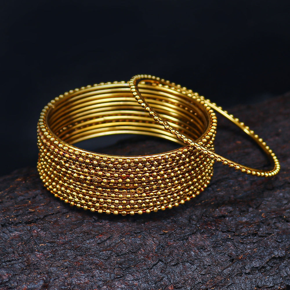 Sukkhi Glimmery Gold Plated Bangles For Women Set Of 12 - 2.4