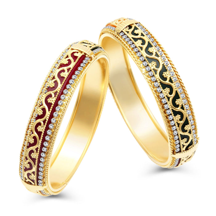 Sukkhi Delightful Gold Plated AD Bangles For Women Pack Of 2