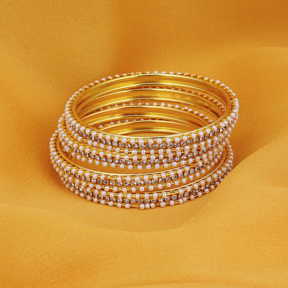 Sukkhi Fascinating Gold Plated AD Bangles For Women Pack Of 4 - 2.4