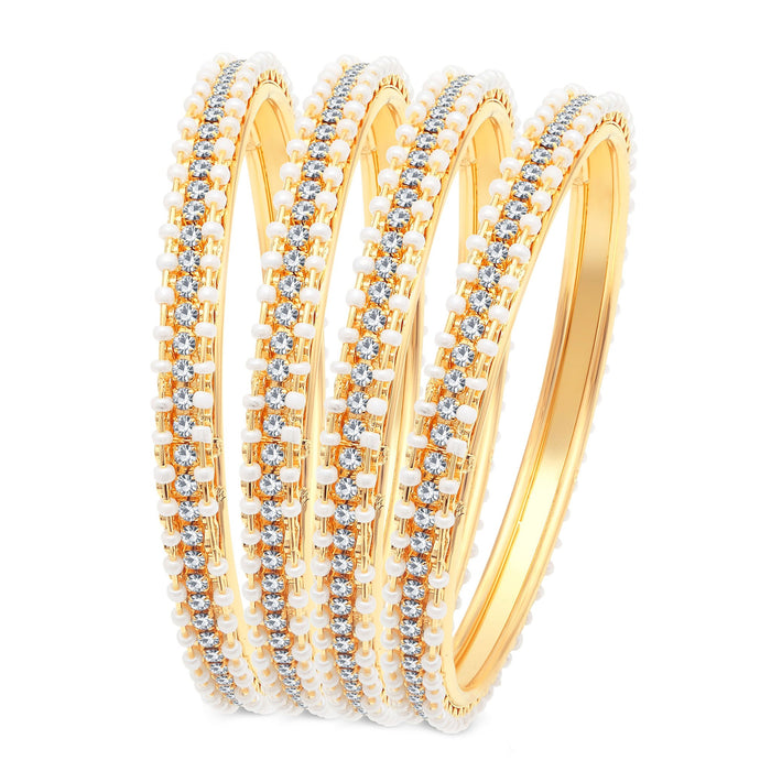 Sukkhi Fascinating Gold Plated AD Bangles For Women Pack Of 4