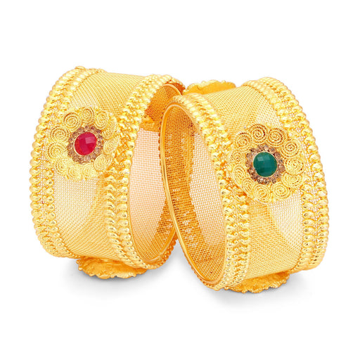 Sukkhi Fascinating Jalebi Gold Plated LCT Stone Bangles For Women Pack Of 2-1