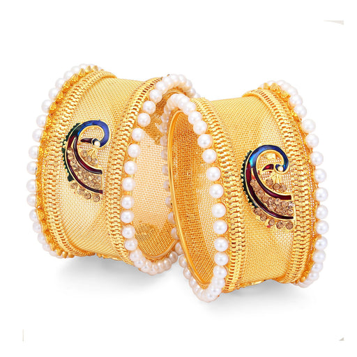 Sukkhi Sublime Peacock Gold Plated LCT Stone Bangles For Women Pack Of 2-1