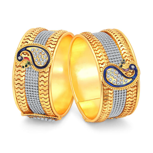 Sukkhi Ritzy Peacock Gold Plated AD Bangles For Women Pack Of 2-1