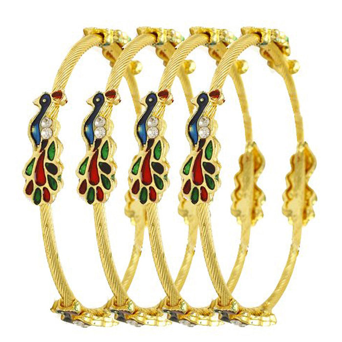 Sukkhi Traditional Gold Plated Party Wear Multi Color Peacock Bangle For Women