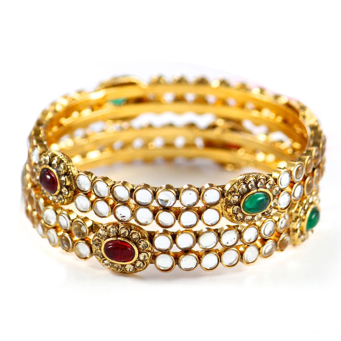 Sukkhi Gold Plated Kundan Polki Bangles For Women