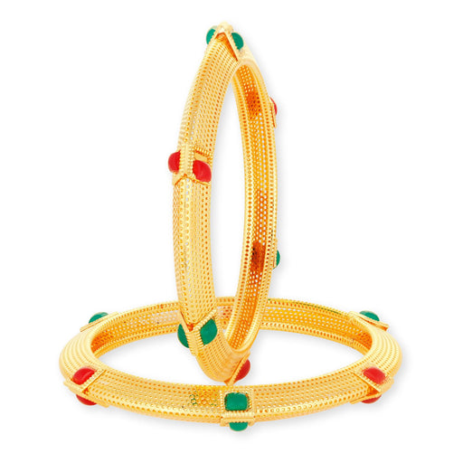 Sukkhi Ravishing Gold Plated Red and Green Bangle Set for Women