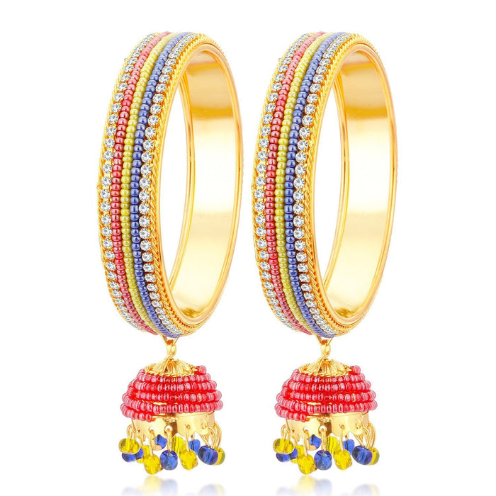 Sukkhi Designer Gold Plated Multicolor Bangle Set with Hanging Zhumka for Women